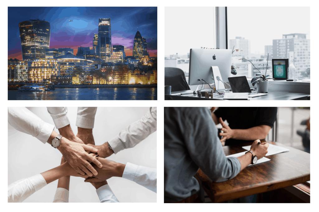 perfil de ciudad y gente haciendo negocios