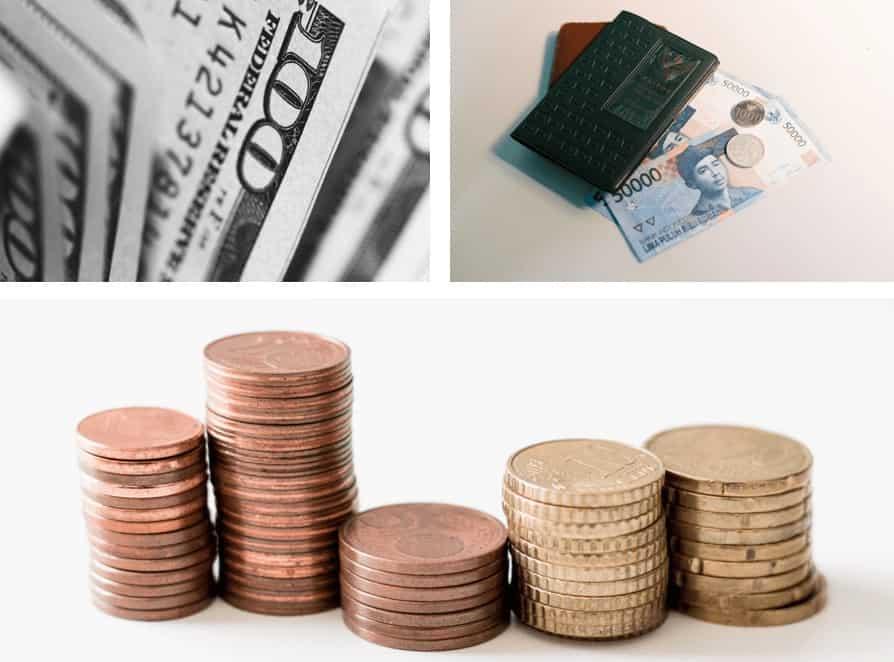 monedas y billetes de 100 dólares